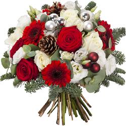 Livraison fleurs Noël Gerzat - Bouquet de noël rouge et blanc